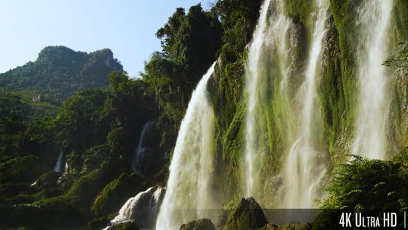 Thumbnail for 4K Beautiful Waterfall Mountain View Close Up in Asia