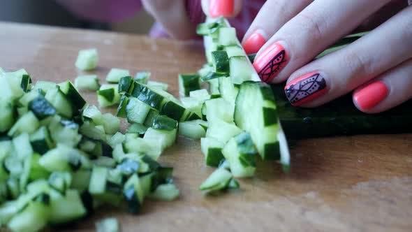 Thumbnail for Female Cutting Green Ripe Cucumber Preparing Vegetable Salad