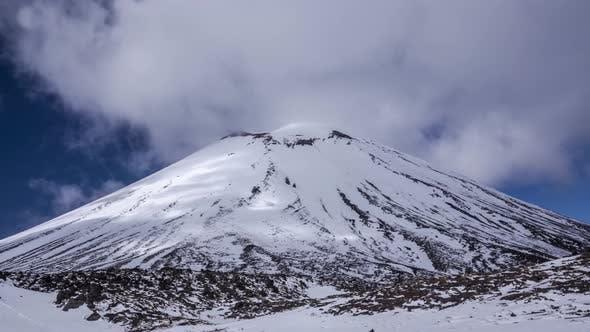 Mt Doom under snow timelapse
