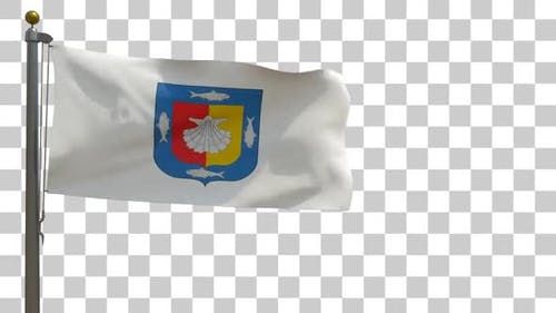 Baja California Sur Flag on Flagpole with Alpha Channel - 4K