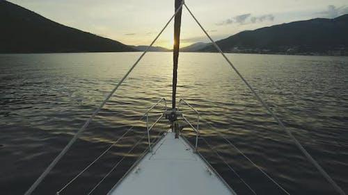 Empty sailboat bow pulpit