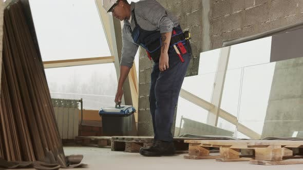 Construction Worker Having Break