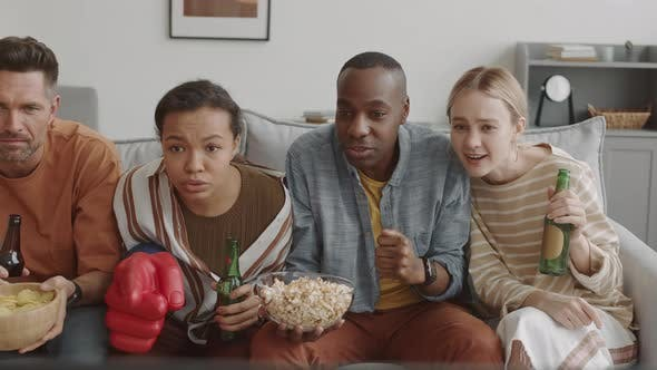 Friends Watching Sports at Home