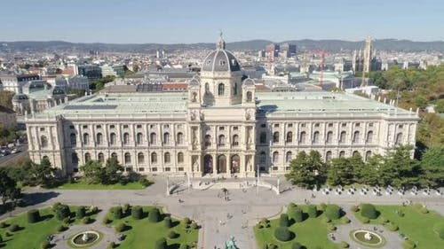 Aerial Footage of Natural History Museum Vienna