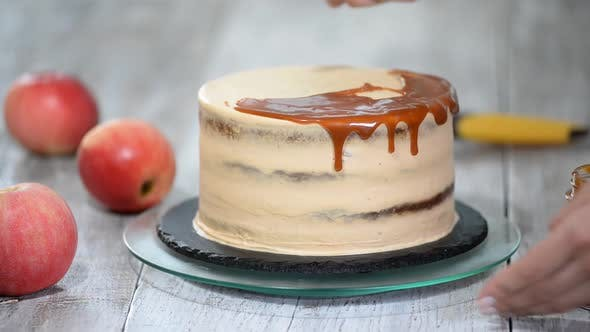 Thumbnail for Delicious apple cake decorating with homemade caramel sauce