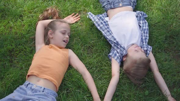 Thumbnail for Portrait of Two Cute Adorable Kids Lying on the Grass in the Park Smiling To Each Other. Funny Girl