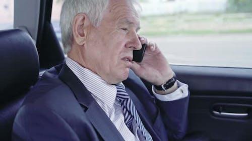 Businessman in Car Calling Partners