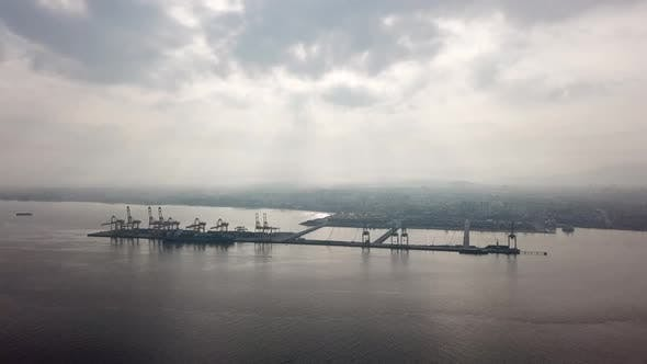 Fly over Penang Port, Malaysia - North Butterworth Container Terminal