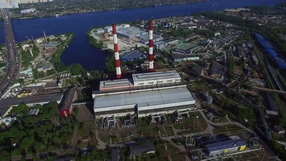 Thumbnail for Industrial Pipe on Power Plant in City. Aerial View Industrial District in City
