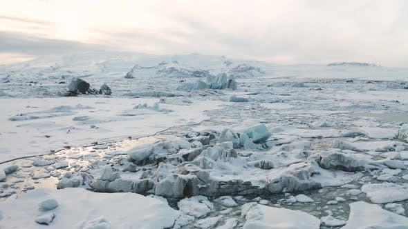 Thumbnail for Aerial View of the J Kuls Rl n Glacial Lagoon and Floating Icebergs. The Beginning of Spring in