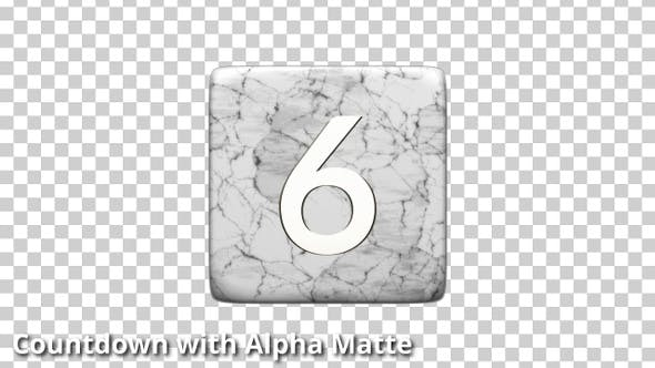 Thumbnail for White Mable and Gold D6 Countdown on Black with Alpha Matte