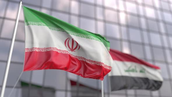 Waving Flags of Iran and Iraq