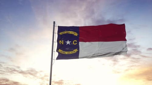 State Flag of North Carolina Waving in the Wind
