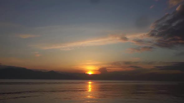 Cloudy Yellow Sunset Ocean
