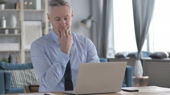 Thumbnail for Sleeping Tired Gray Hair Businessman at Work