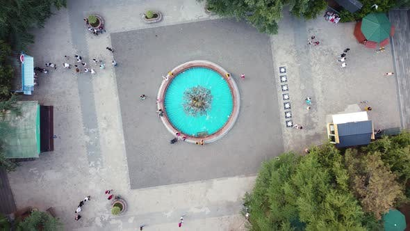Cyan Fountain In The Park