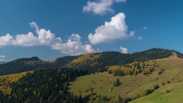 Thumbnail for Moving Clouds Over the Mountain Peak. Carpathian Mountain