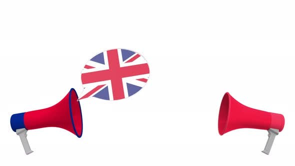 Speech Bubbles with Flags of Austria and the United Kingdom