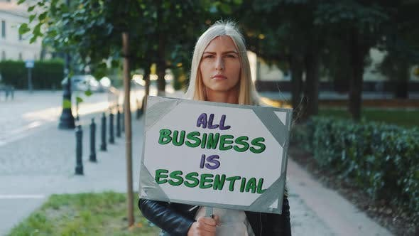 Young Woman Supporting Business in Protest Movement