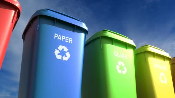 Cover Image for Multi-colored Plastic Garbage Bins with Waste Type Labels and Recycle Logos Loop