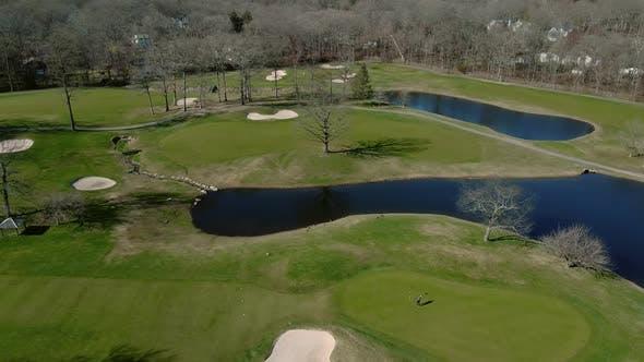 Thumbnail for Aerial View Establishing Shot of American Neighborhood, Suburb. Real Estate, Golf Course, Around