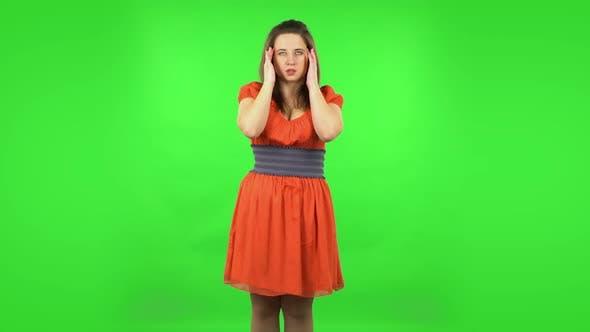Thumbnail for Cute Girl Suffering From Headache From Fatigue . Green Screen