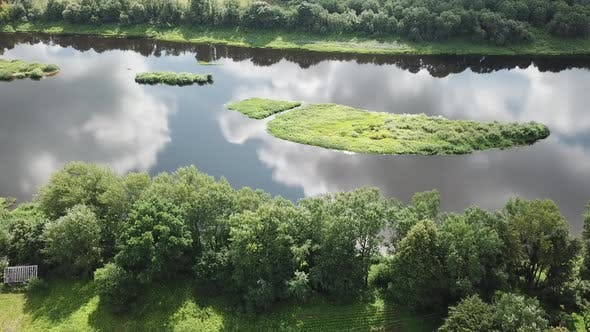 Thumbnail for Islands On The River Western Dvina. Sun Reflection