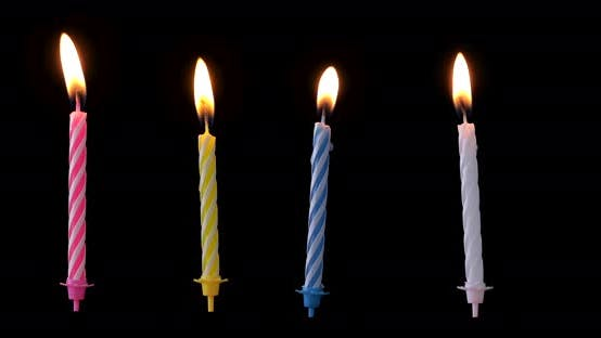 Thumbnail for Collection pack of birthday candles isolated on black background, different flame is floating