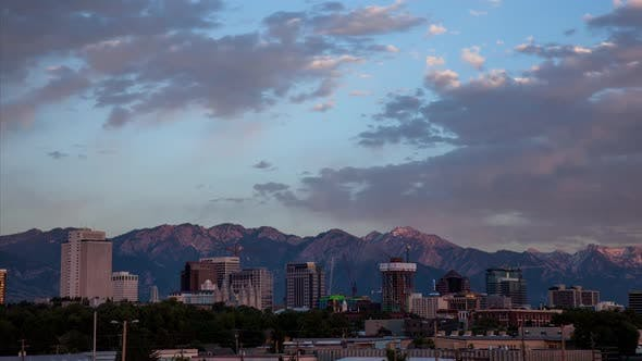Thumbnail for Cityscape timelapse of Salt Lake City during sunset
