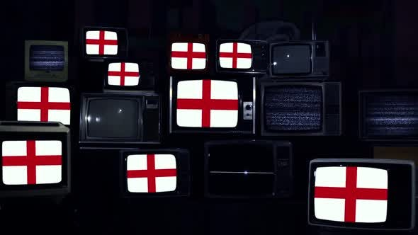 Flags of England and Retro TVs.