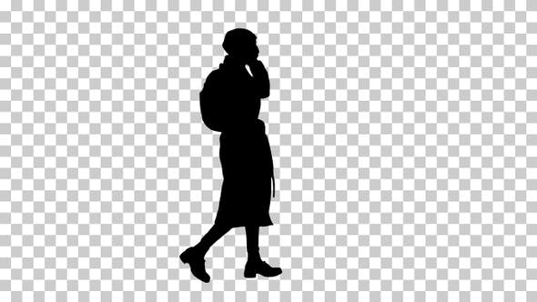 Silhouette Woman calling someone one the phone, Alpha Channel