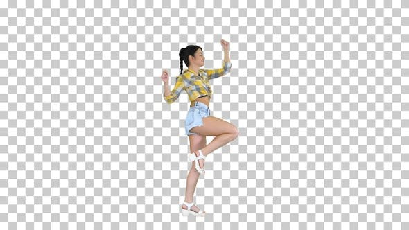 Thumbnail for Magnificent sweet girl in jeans shorts sneakers, dancing, Alpha