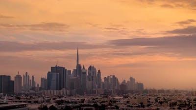 Dubai city sunset