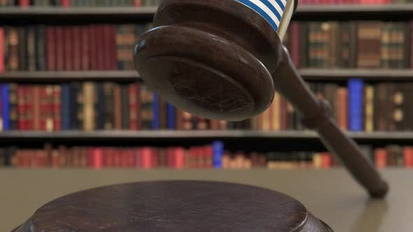 Thumbnail for Flag of Greece on Falling Judges Gavel in Court
