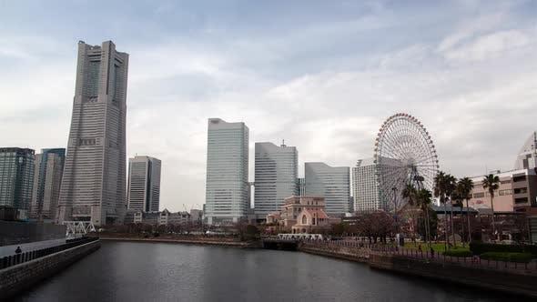 Thumbnail for Yokohama Skyscrapers on Sea Waterfront Timelapse