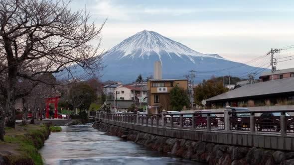 Mount Fuji Foot Town Cars on Bank Sunset Timelapse
