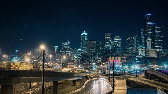 Thumbnail for Colorful City Lights Background Time Lapse Downtown Seattle Washington