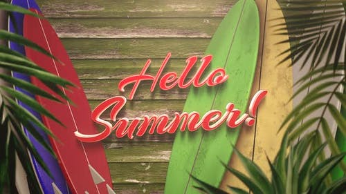 Text Hello Summer and closeup surfing boards with tropical leaves