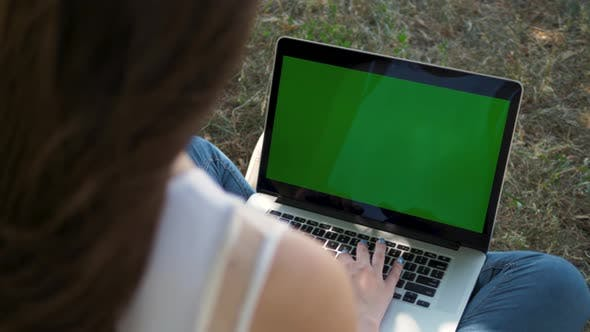 Thumbnail for Woman Working on the Laptop Computer with Green Screen at Park. Chroma Key. View From the Back