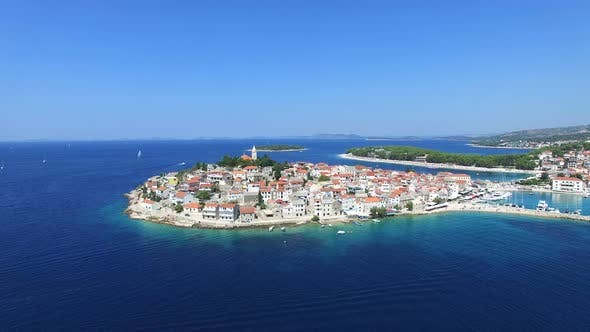 Thumbnail for Aerial view of old dalmatian town of Primosten, Croatia