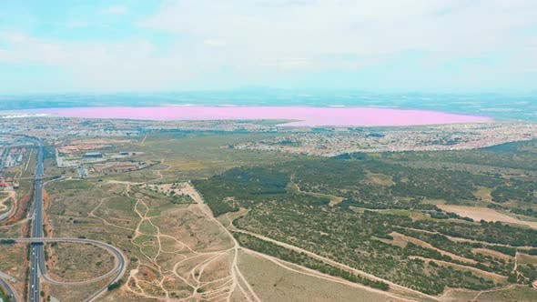 Thumbnail for Panoramic Aerial View Video of Las Salinas, Bright Color Famous Place Pink Lake. Coastline of