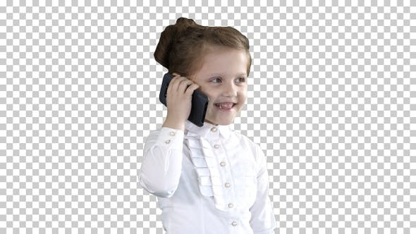 Cover Image for Happy Girl with Mobile Phone Isolated, Alpha Channel
