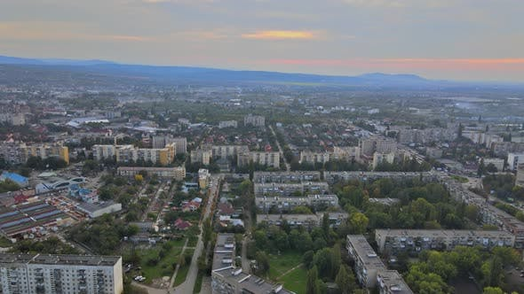 Aerial View of Panorama View on the Roof City Uzhgorod Ukraine