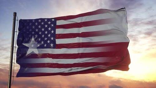 Texas and USA Flag on Flagpole