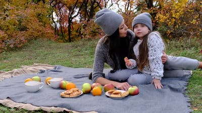 Mom and Threeyearold Daughter in the Park on a Picnic