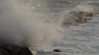 waves crashing on rocks, mediterranean sea, France