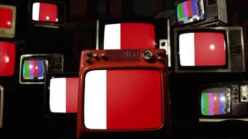 Flag of Dubai City and Retro TVs.
