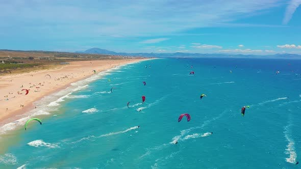 Thumbnail for Large Beach Filled with Kite Surfers in Tarifa, Spain