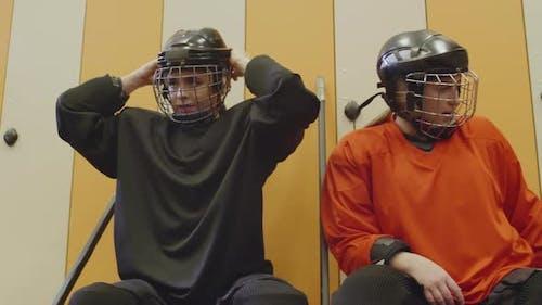 Female Hockey Players before Match