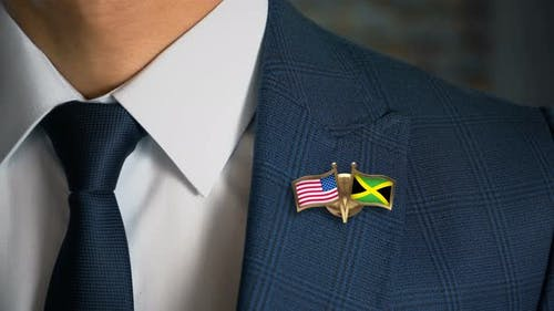 Businessman Friend Flags Pin United States Of America Jamaica